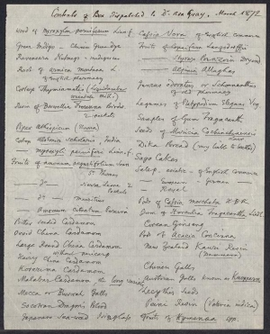 Items sent to Asa Gray, March 1872 - List of plants