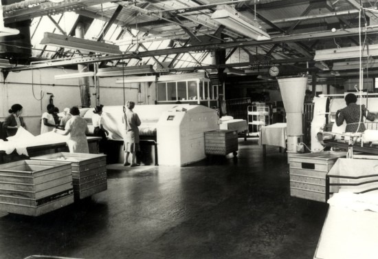 The newly installed Calendar laundry ironing machines, 1970s
