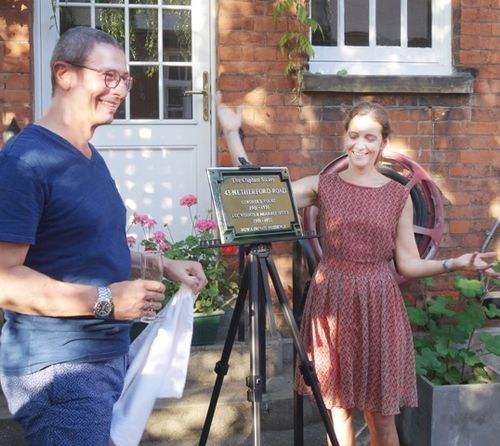 Plaque unveiling by owners of the property,