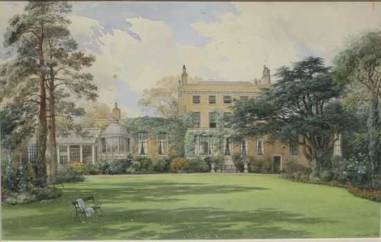 Rear elevation in 1868, from a water colour by Edward Hull.