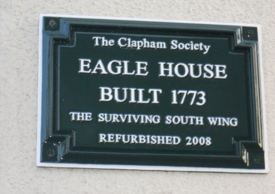 The Eagle House plaque in close-up.