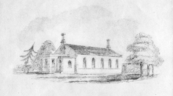 Drawing for the proposed new school in Macaulay Road, 1839