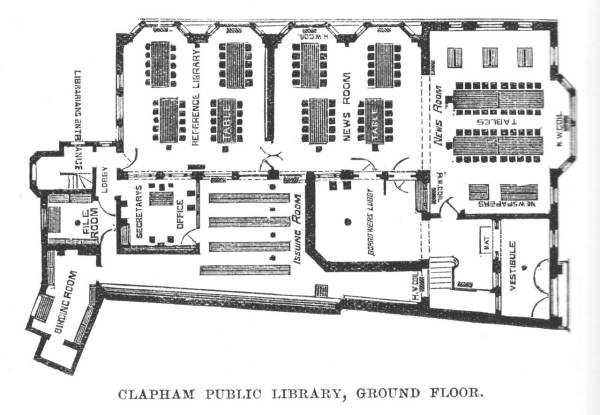 Plan of the interior of the Library