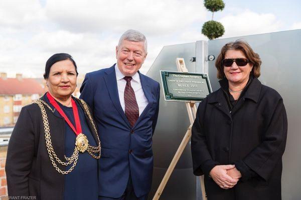 The Mayor of Lambeth, Saleha Jaffer, Rt. Hon. Alan Johnson, MP and Clapham Society Chairman, Annabel Allott