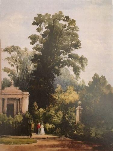 Watercolour of the entrance to Grove Lodge Garden,1851