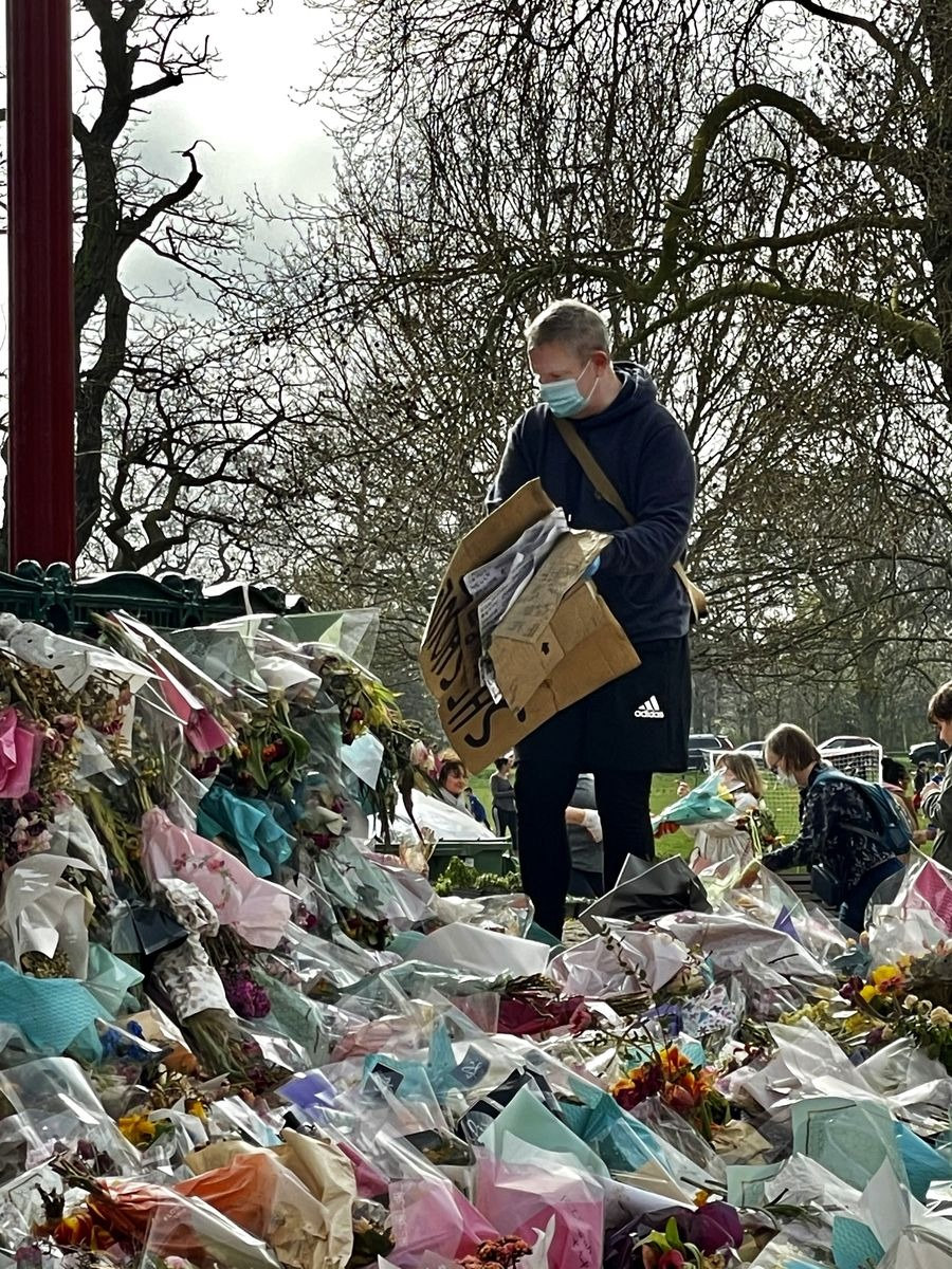 Thursday 1 April — Messages are collected for the Everard family as flowers are cleared