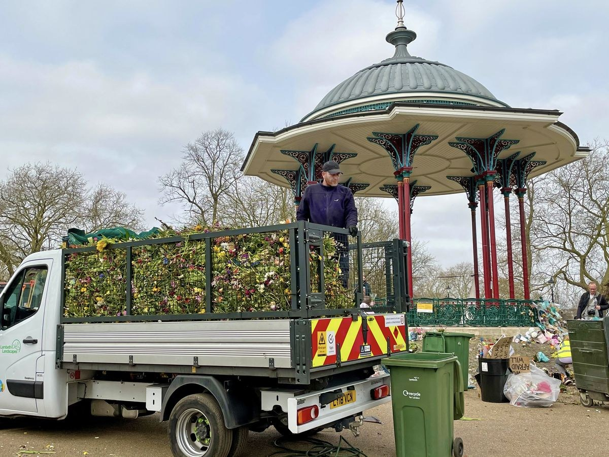 Thursday 1 April — A lorry load of 'prepared' flowers for composting