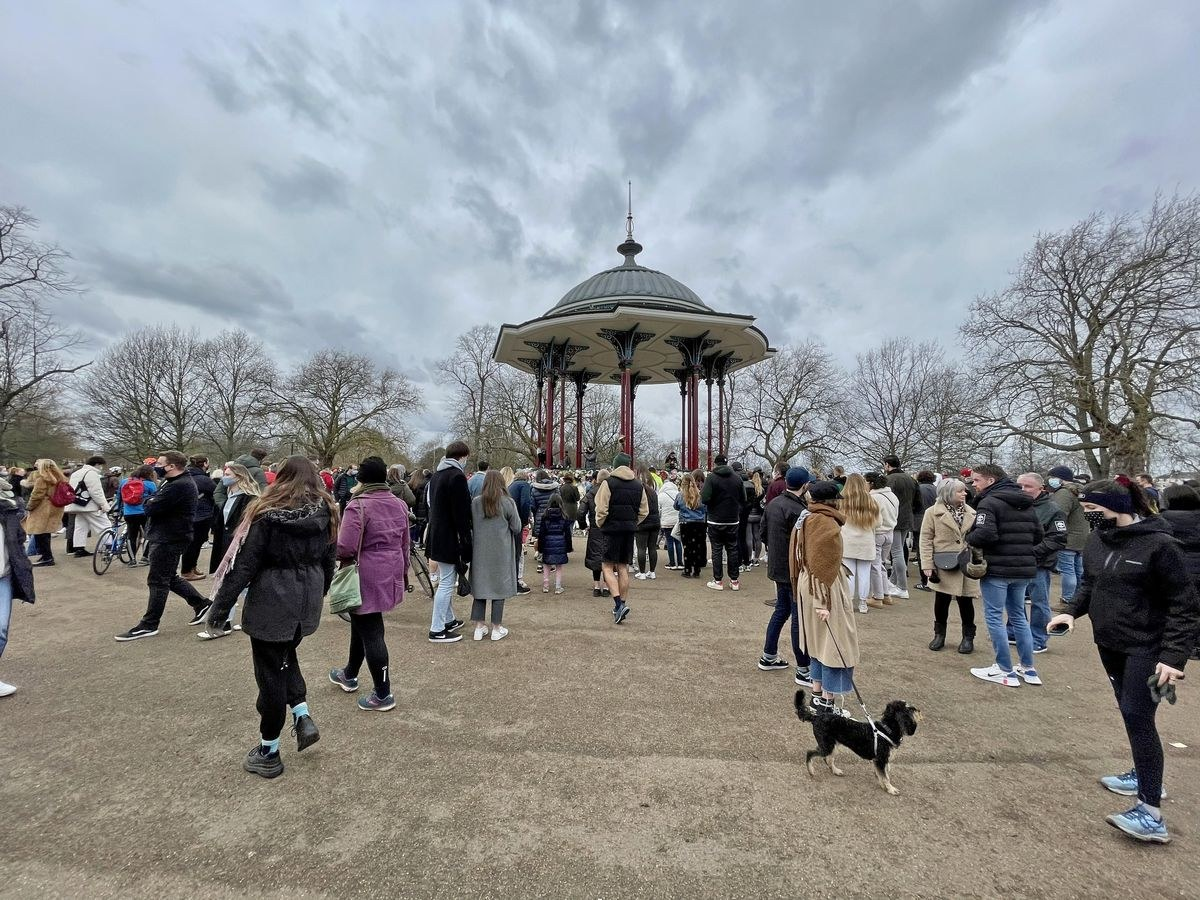 Sunday 14 March — Many more people come to the Bandstand