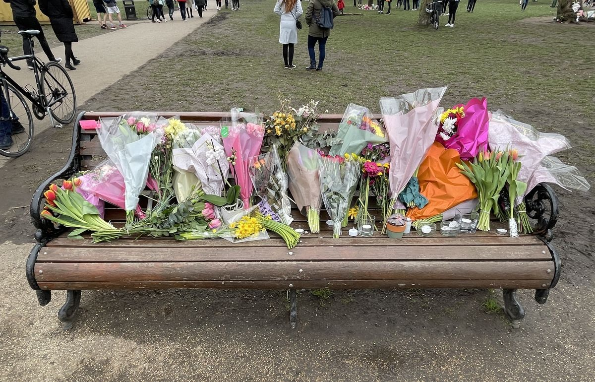 Sunday 14 March — A nearby bench becomes a shrine