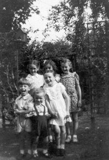 Boys and girls in Abbeville Rd back garden 1947