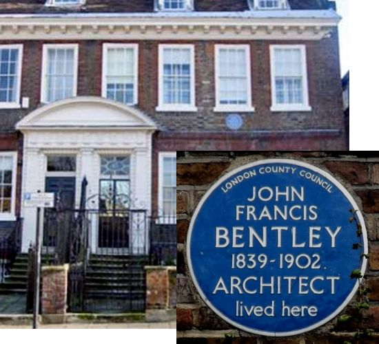 JF Bentley's house with blue plaque