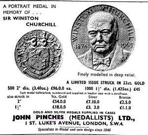 Churchill Medal, 1965